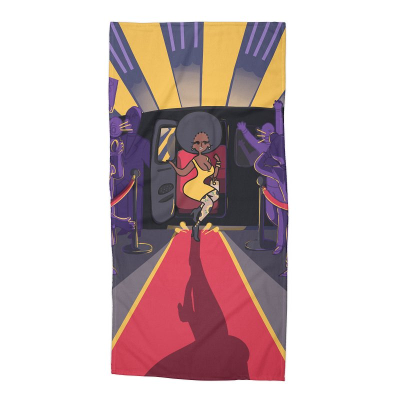 Red Carpet Gala Card Art Accessories Beach Towel by The Spiffai Shop