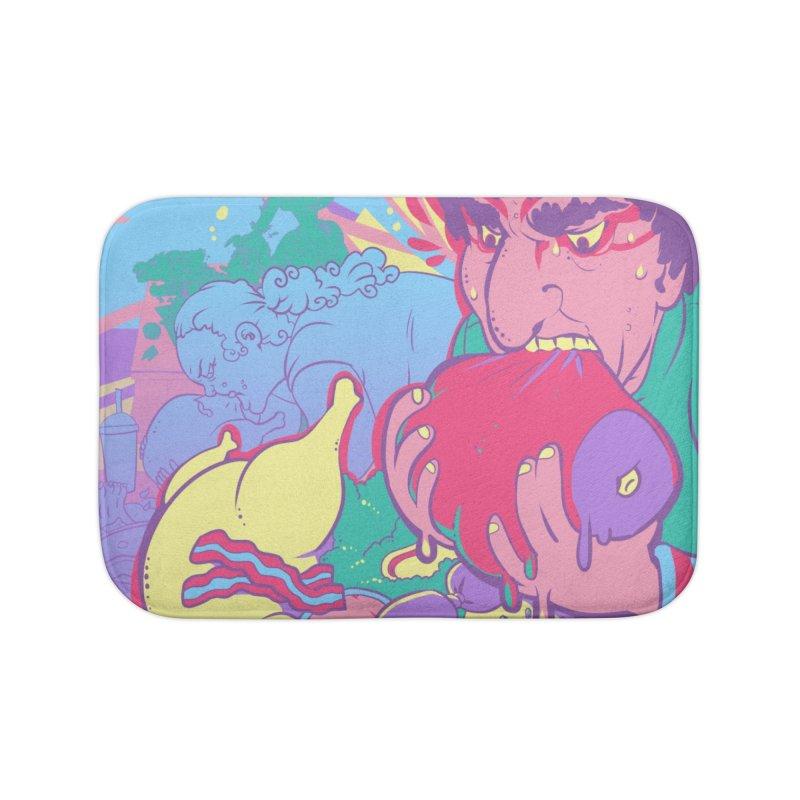 On Set of Man VS Meat Card Art Home Bath Mat by The Spiffai Shop
