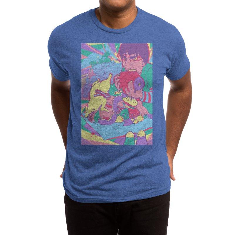 On Set of Man VS Meat Card Art Men's T-Shirt by The Spiffai Shop