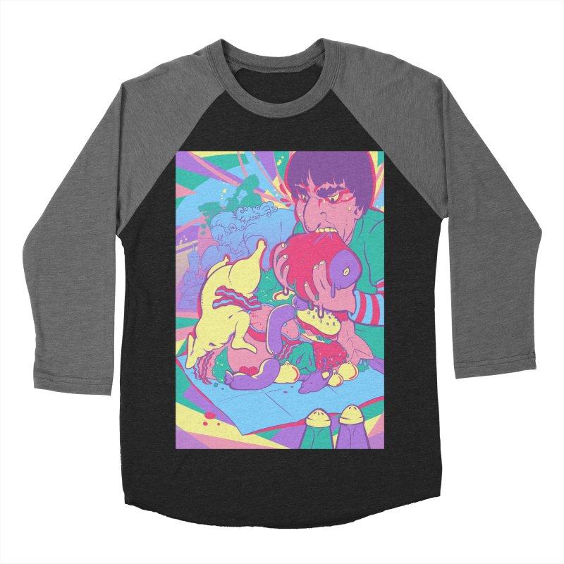 On Set of Man VS Meat Card Art Men's Baseball Triblend Longsleeve T-Shirt by The Spiffai Shop