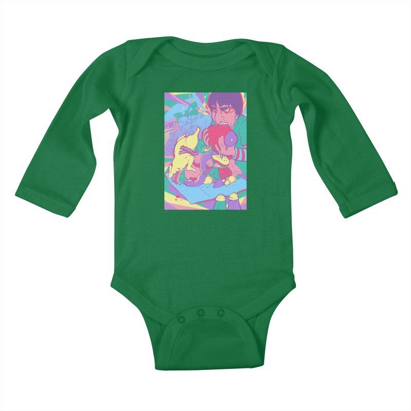 On Set of Man VS Meat Card Art Kids Baby Longsleeve Bodysuit by The Spiffai Shop