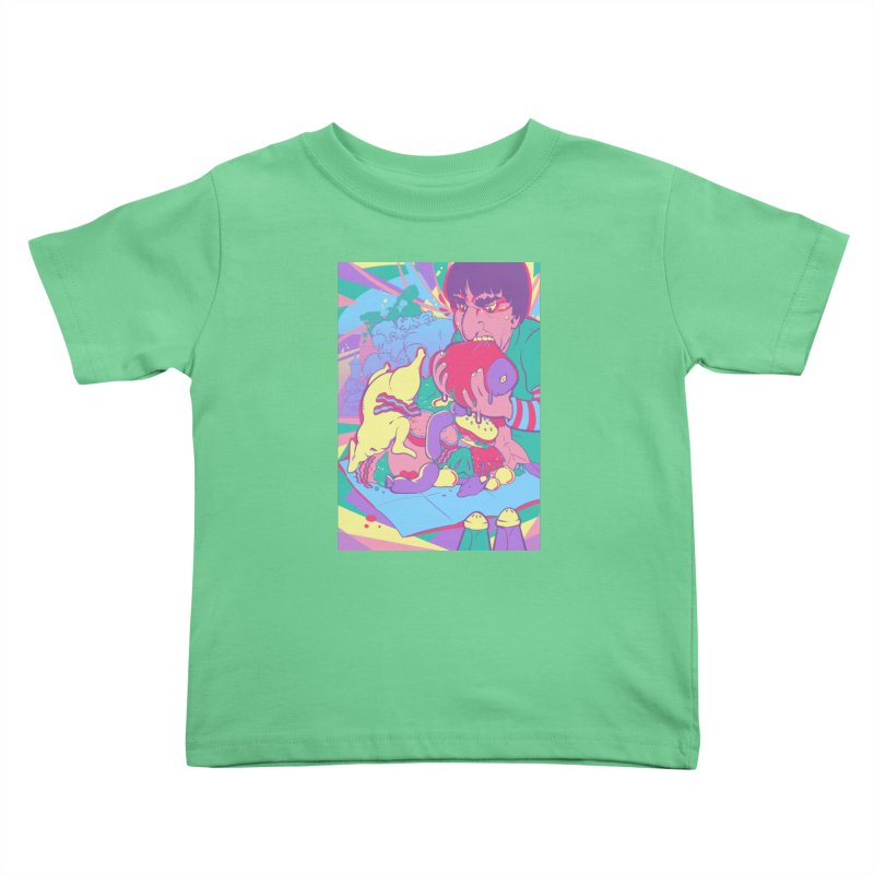 On Set of Man VS Meat Card Art Kids Toddler T-Shirt by The Spiffai Shop