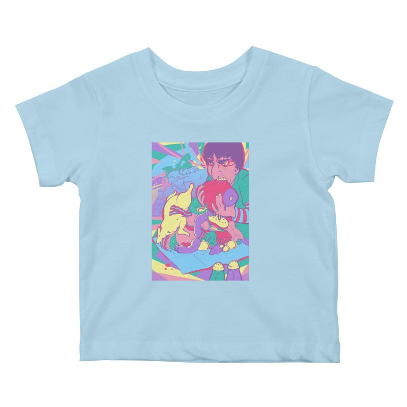 On Set of Man VS Meat Card Art Kids Baby T-Shirt by The Spiffai Shop