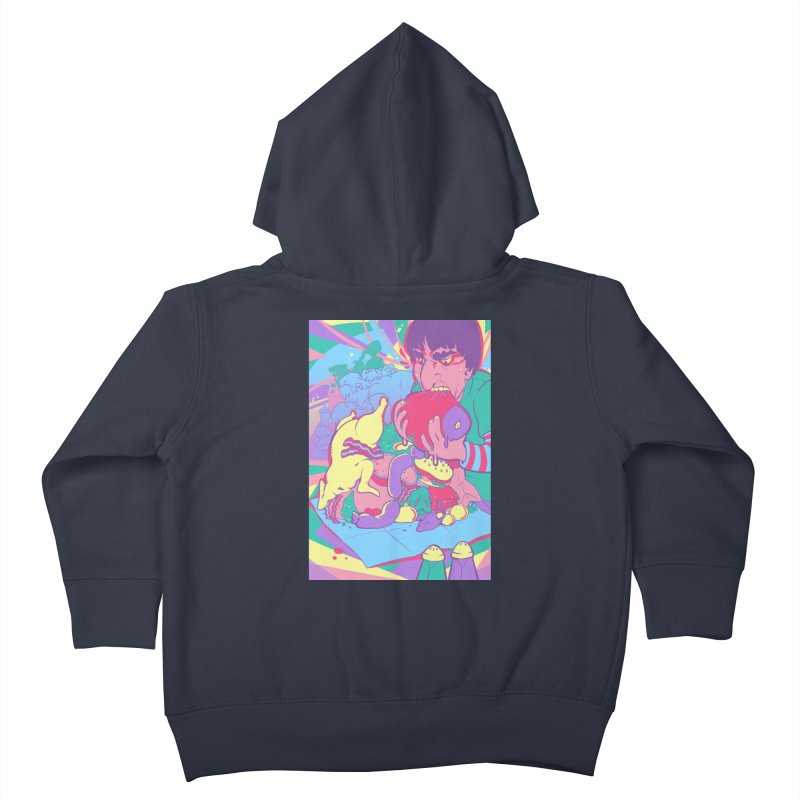 On Set of Man VS Meat Card Art Kids Toddler Zip-Up Hoody by The Spiffai Shop