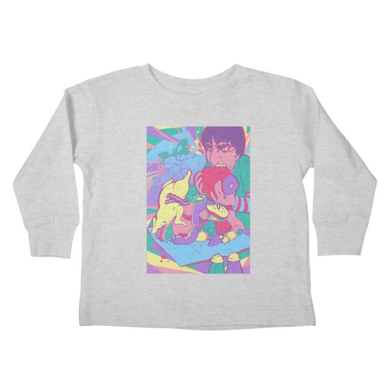 On Set of Man VS Meat Card Art Kids Toddler Longsleeve T-Shirt by The Spiffai Shop