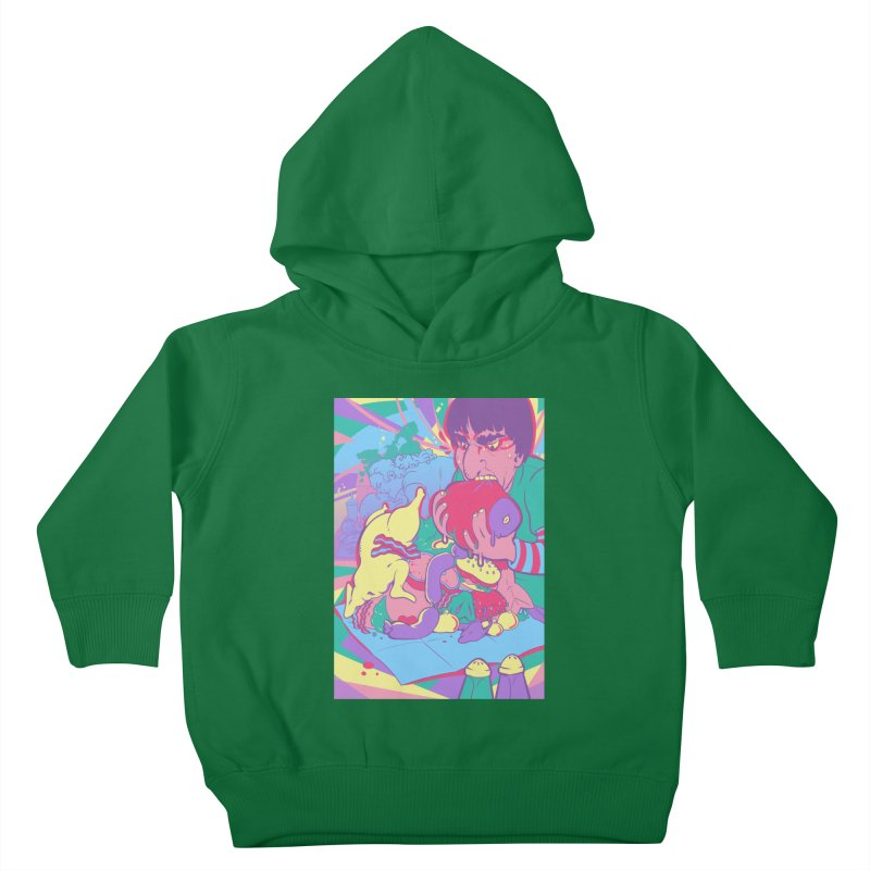 On Set of Man VS Meat Card Art Kids Toddler Pullover Hoody by The Spiffai Shop