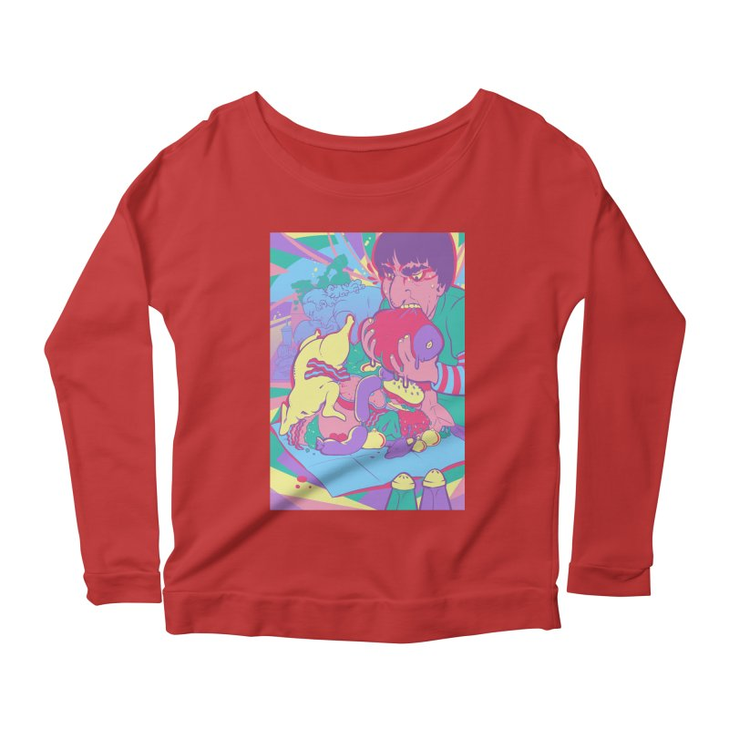 On Set of Man VS Meat Card Art Women's Scoop Neck Longsleeve T-Shirt by The Spiffai Shop