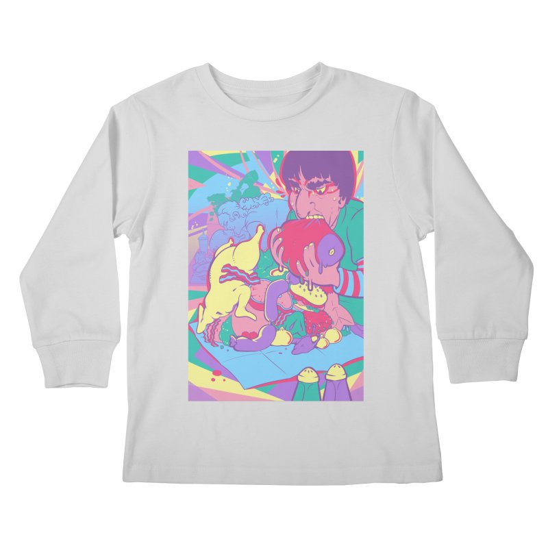 On Set of Man VS Meat Card Art Kids Longsleeve T-Shirt by The Spiffai Shop
