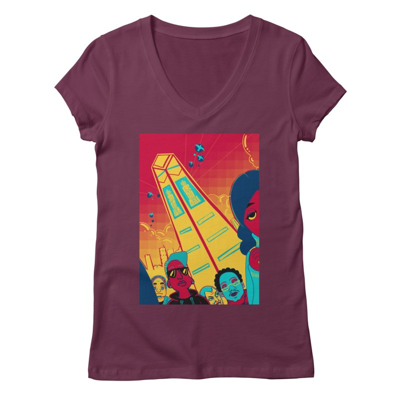 Presidential Tower Card Art Women's Regular V-Neck by The Spiffai Shop