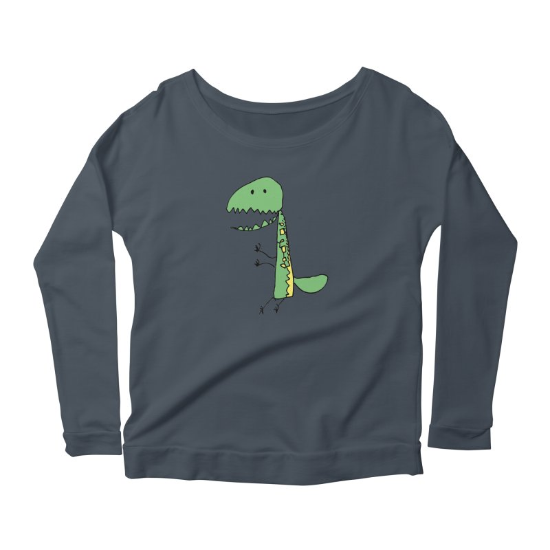 Chompasaurus Women's Scoop Neck Longsleeve T-Shirt by Spinosaurus's Artist Shop