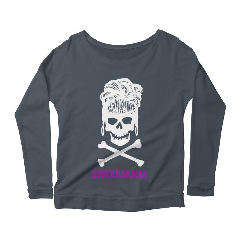 Spokanarama White Skull Women's Longsleeve T-Shirt by Spokanarama Mart
