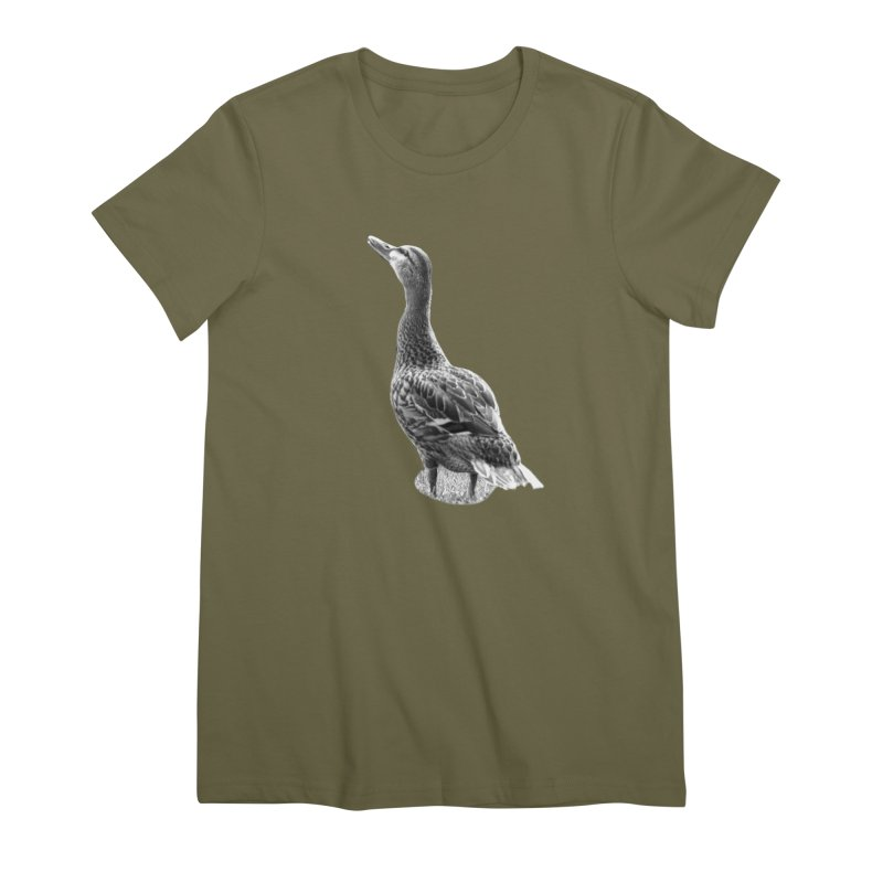 Duck looking up - Black and White Women's Premium T-Shirt by Make a statement, laugh, enjoy.