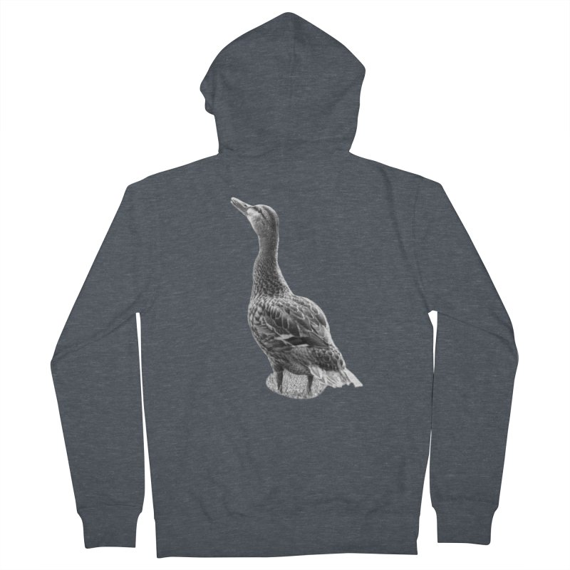 Duck looking up - Black and White Men's French Terry Zip-Up Hoody by Make a statement, laugh, enjoy.