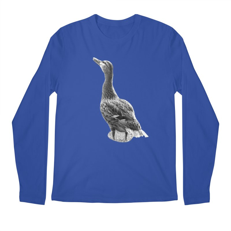 Duck looking up - Black and White Men's Regular Longsleeve T-Shirt by Make a statement, laugh, enjoy.
