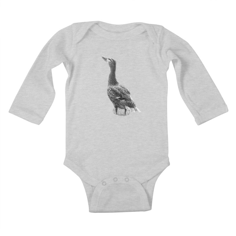 Duck looking up - Black and White Kids Baby Longsleeve Bodysuit by Make a statement, laugh, enjoy.