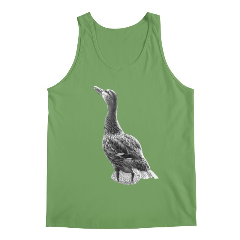 Duck looking up - Black and White Men's Tank by Make a statement, laugh, enjoy.