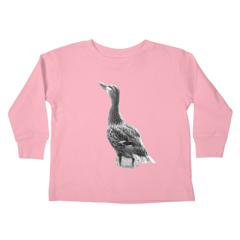 Duck looking up - Black and White Kids Toddler Longsleeve T-Shirt by Make a statement, laugh, enjoy.