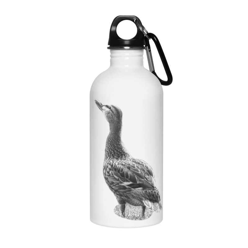 Duck looking up - Black and White Accessories Water Bottle by Make a statement, laugh, enjoy.