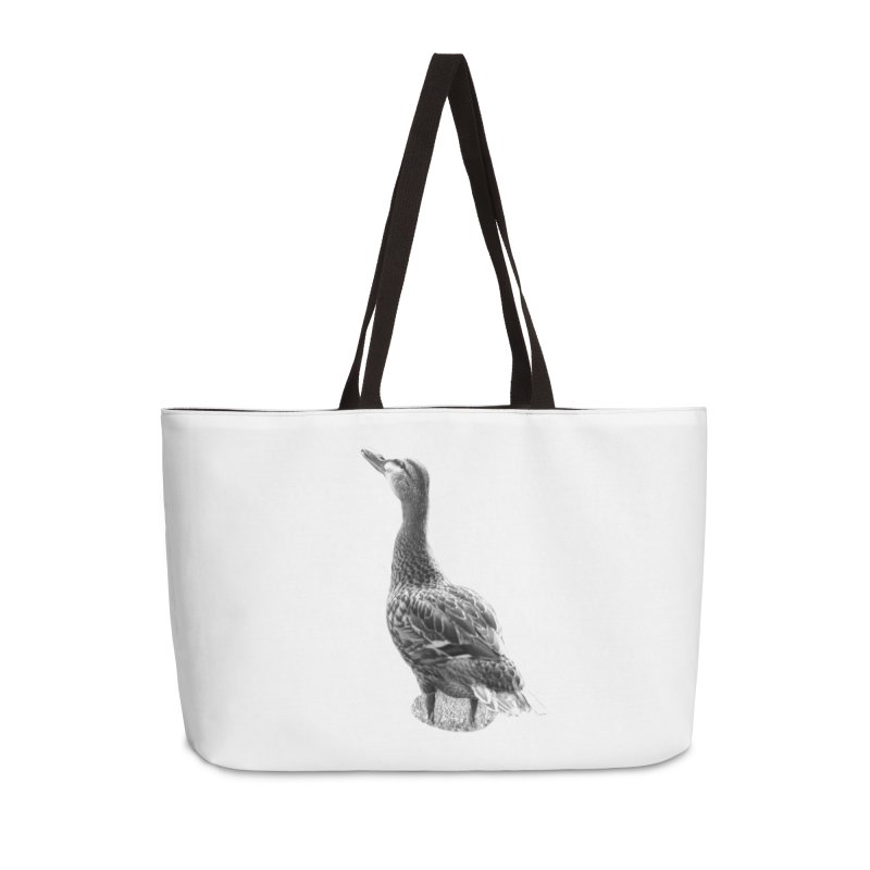 Duck looking up - Black and White Accessories Weekender Bag Bag by Make a statement, laugh, enjoy.