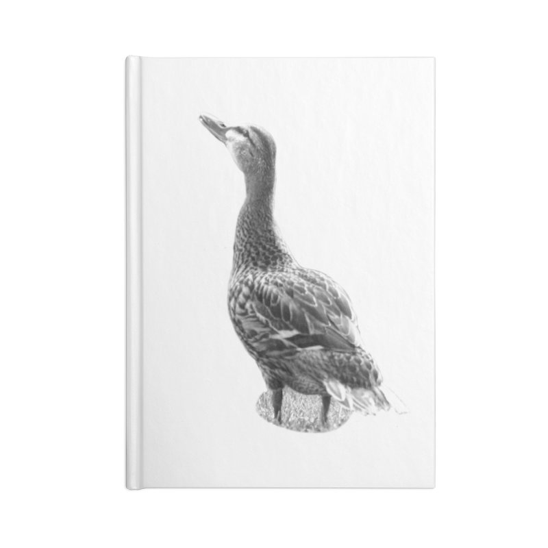Duck looking up - Black and White Accessories Blank Journal Notebook by Make a statement, laugh, enjoy.