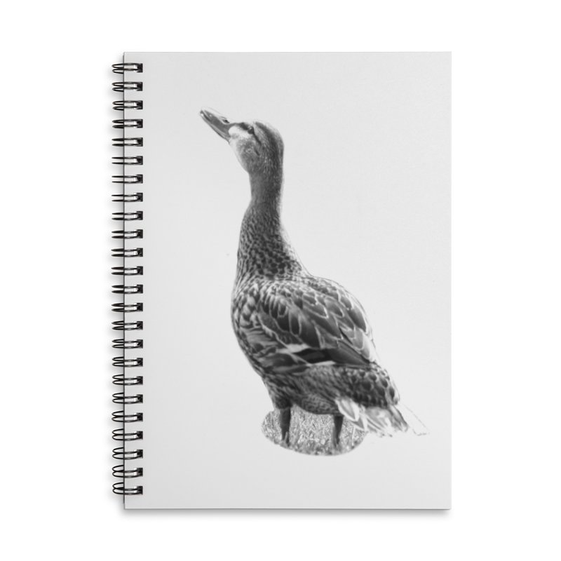 Duck looking up - Black and White Accessories Lined Spiral Notebook by Make a statement, laugh, enjoy.