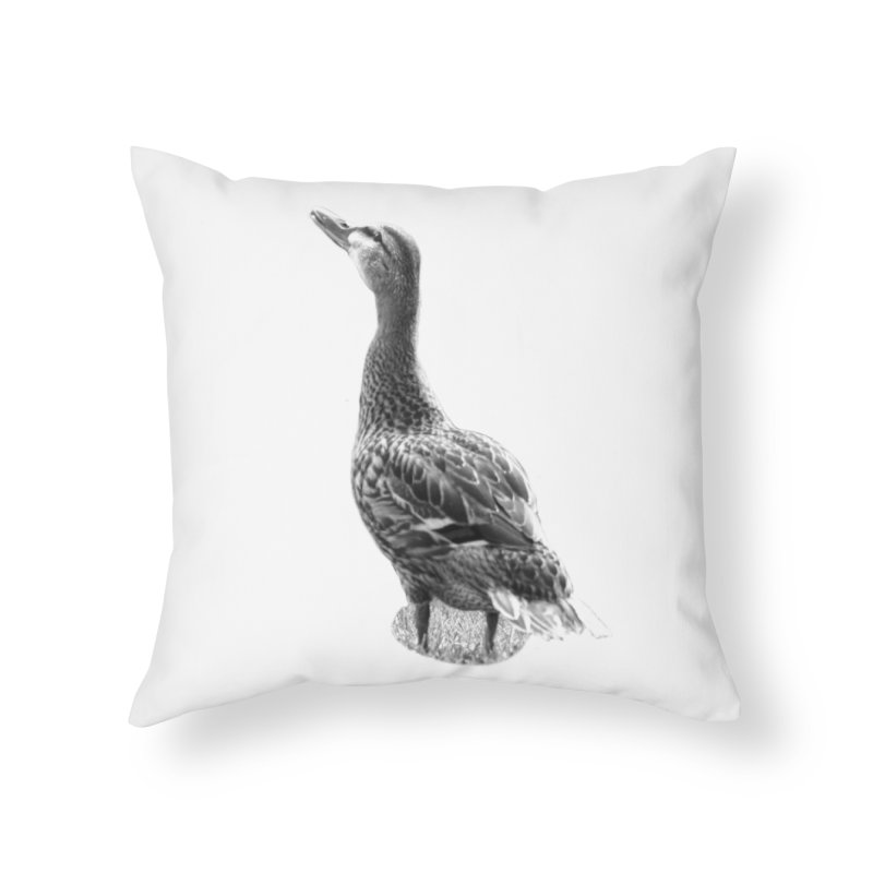Duck looking up - Black and White Home Throw Pillow by Make a statement, laugh, enjoy.