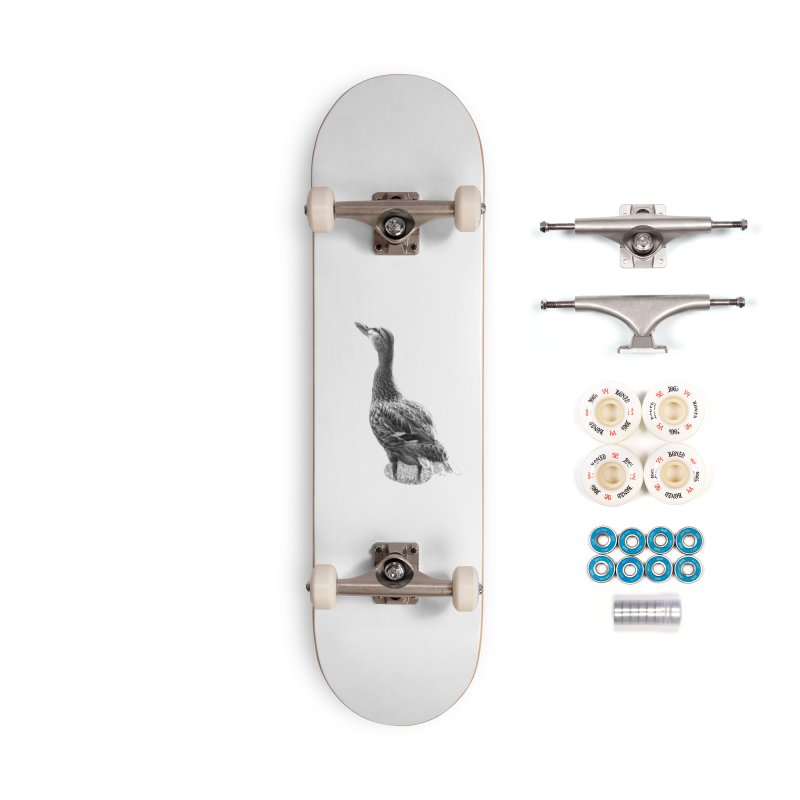 Duck looking up - Black and White Accessories Complete - Premium Skateboard by Make a statement, laugh, enjoy.