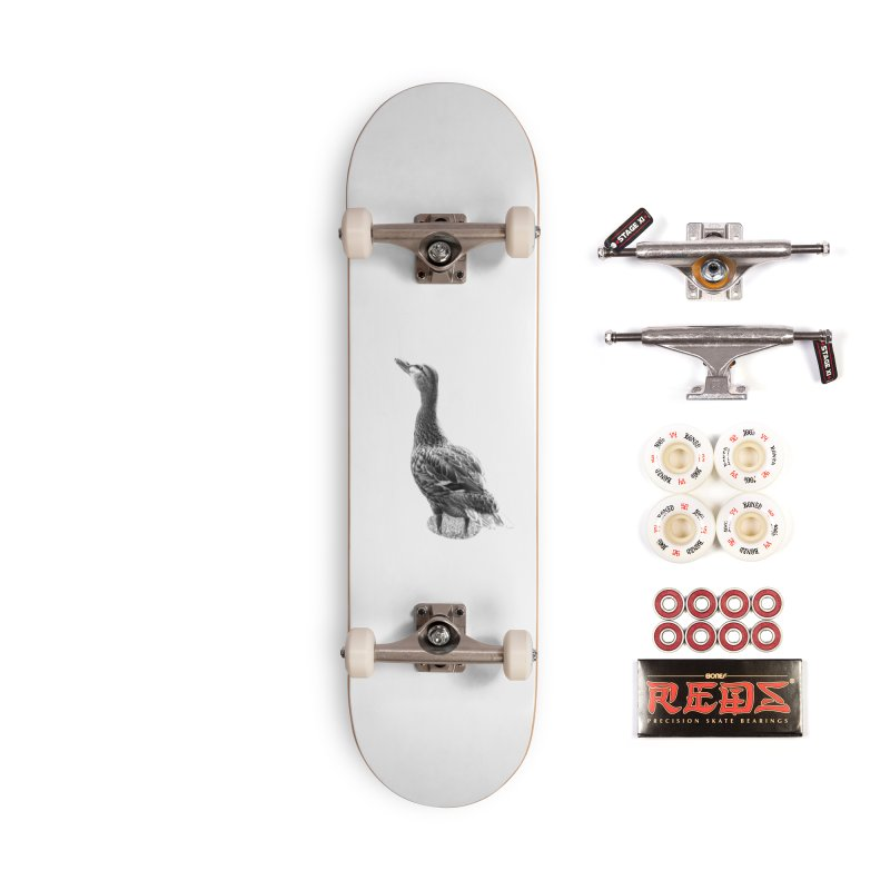 Duck looking up - Black and White Accessories Complete - Pro Skateboard by Make a statement, laugh, enjoy.
