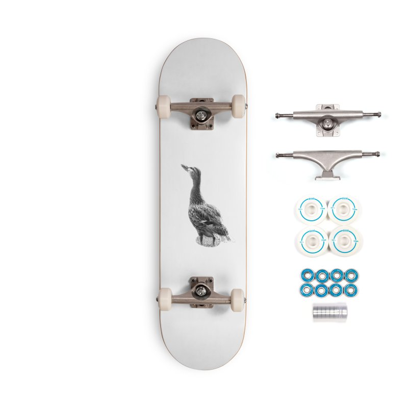 Duck looking up - Black and White Accessories Complete - Basic Skateboard by Make a statement, laugh, enjoy.