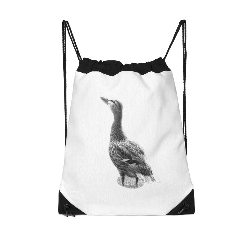 Duck looking up - Black and White Accessories Drawstring Bag Bag by Make a statement, laugh, enjoy.