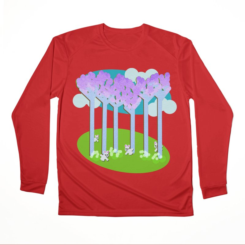 Pastel Woods with Bunnies Women's Performance Unisex Longsleeve T-Shirt by Make a statement, laugh, enjoy.