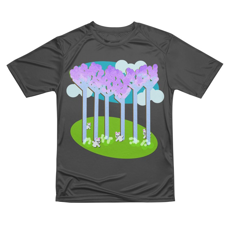 Pastel Woods with Bunnies Women's Performance Unisex T-Shirt by Make a statement, laugh, enjoy.