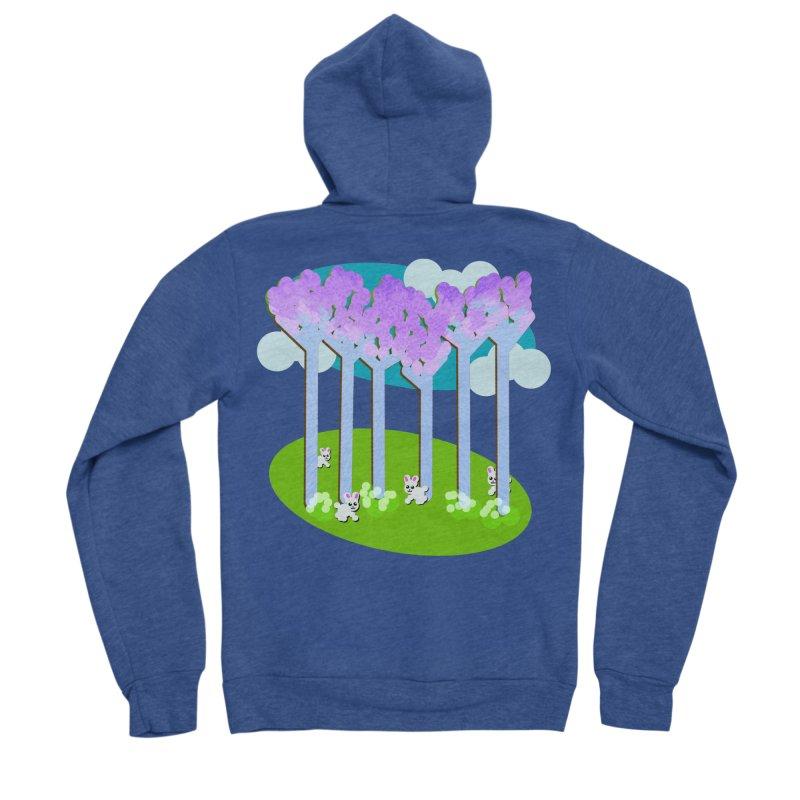 Pastel Woods with Bunnies Women's Sponge Fleece Zip-Up Hoody by Make a statement, laugh, enjoy.