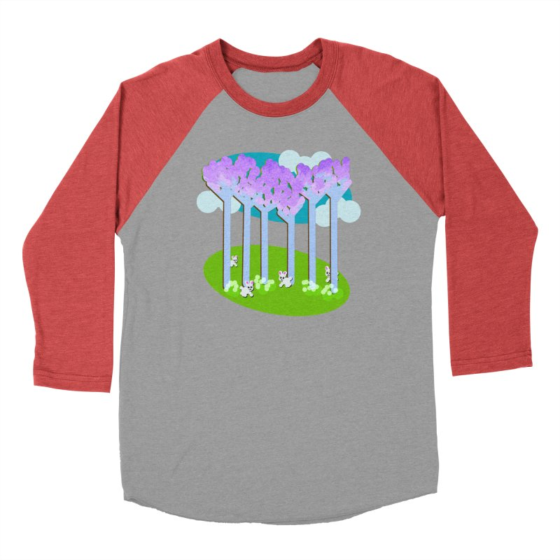 Pastel Woods with Bunnies Women's Baseball Triblend Longsleeve T-Shirt by Make a statement, laugh, enjoy.