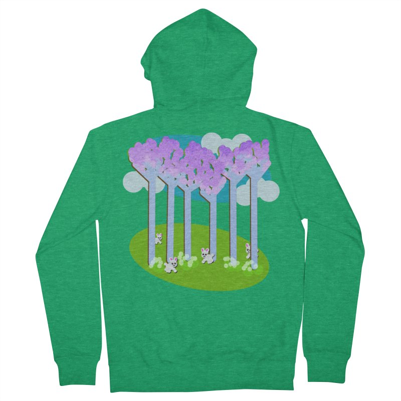 Pastel Woods with Bunnies Women's Zip-Up Hoody by Make a statement, laugh, enjoy.