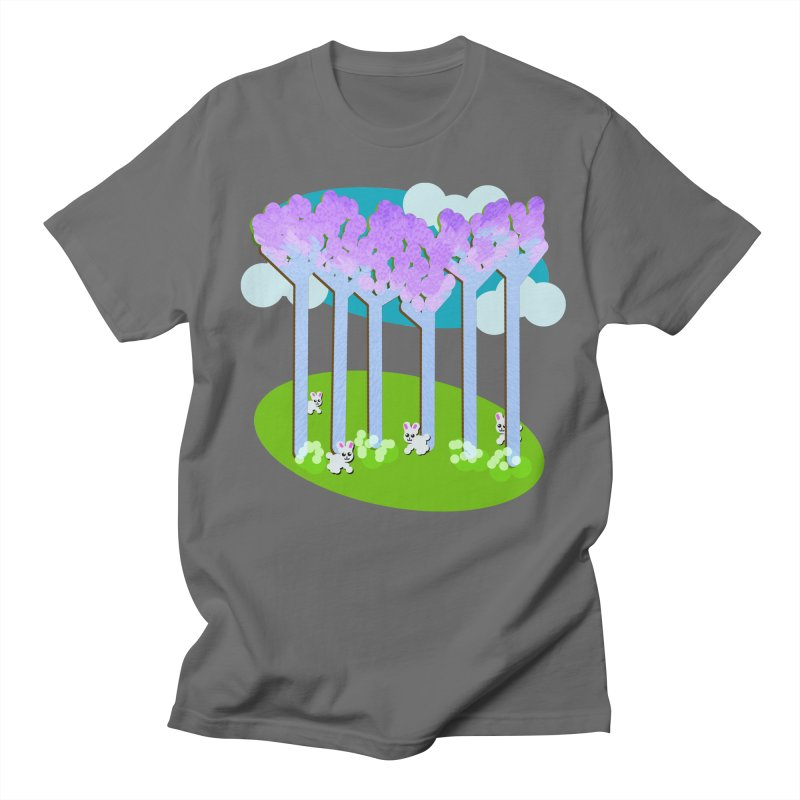 Pastel Woods with Bunnies Women's T-Shirt by Make a statement, laugh, enjoy.