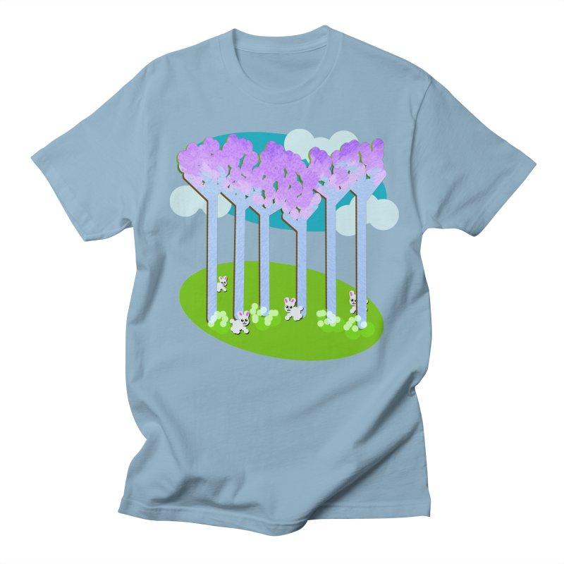 Pastel Woods with Bunnies Men's Regular T-Shirt by Make a statement, laugh, enjoy.