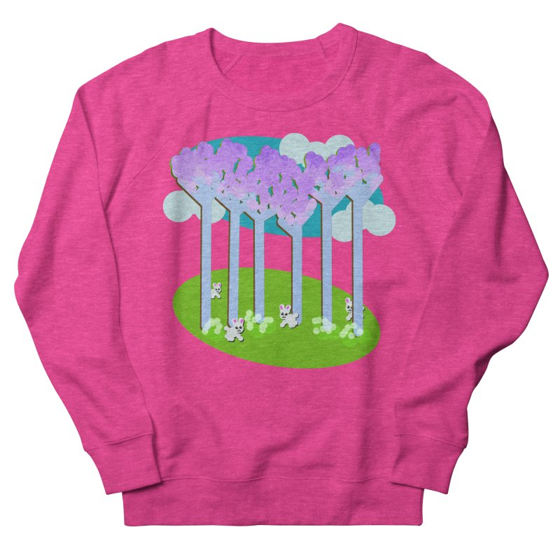 Pastel Woods with Bunnies Women's French Terry Sweatshirt by Make a statement, laugh, enjoy.