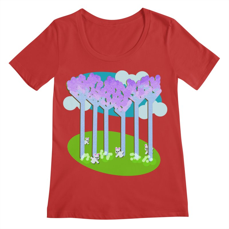 Pastel Woods with Bunnies Women's Regular Scoop Neck by Make a statement, laugh, enjoy.