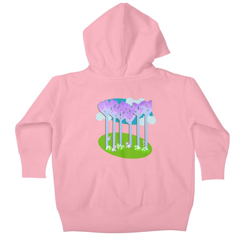 Pastel Woods with Bunnies Kids Baby Zip-Up Hoody by Make a statement, laugh, enjoy.