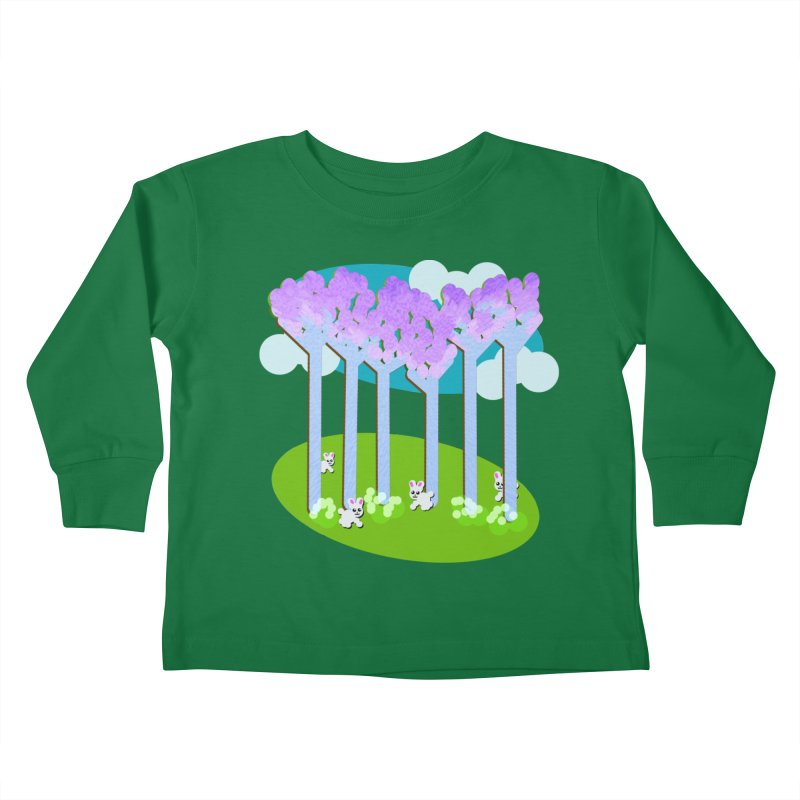 Pastel Woods with Bunnies Kids Toddler Longsleeve T-Shirt by Make a statement, laugh, enjoy.
