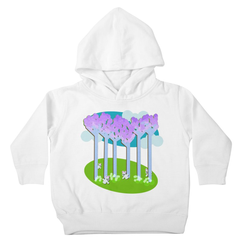 Pastel Woods with Bunnies Kids Toddler Pullover Hoody by Make a statement, laugh, enjoy.