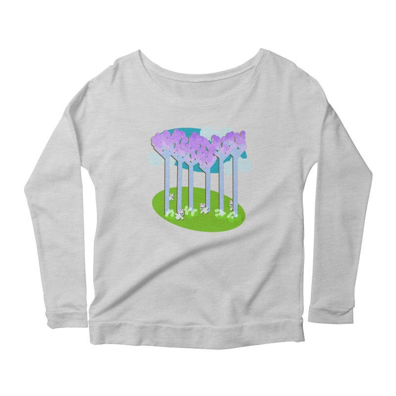 Pastel Woods with Bunnies Women's Scoop Neck Longsleeve T-Shirt by Make a statement, laugh, enjoy.