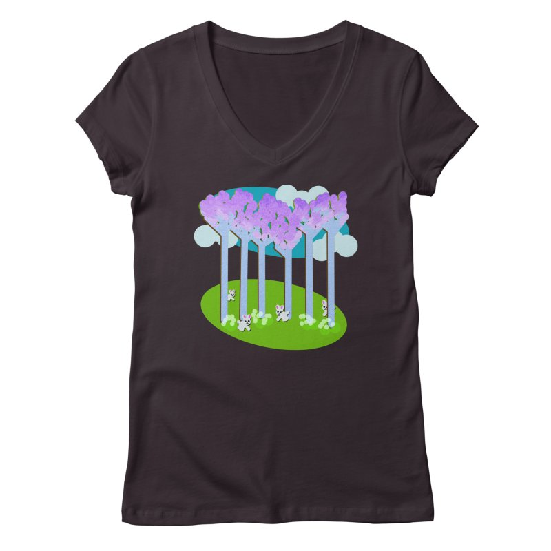 Pastel Woods with Bunnies Women's Regular V-Neck by Make a statement, laugh, enjoy.