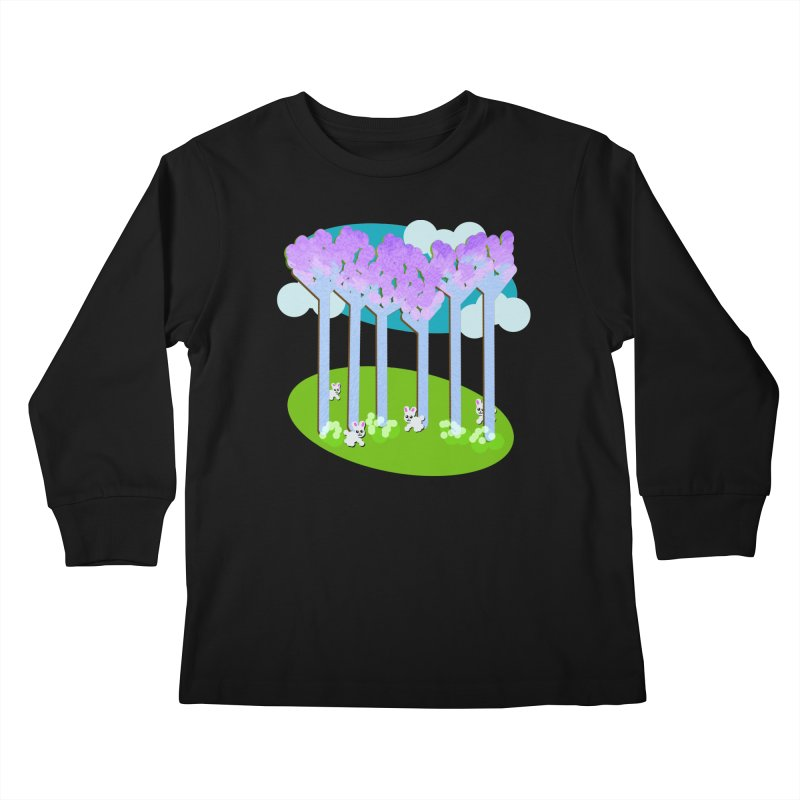 Pastel Woods with Bunnies Kids Longsleeve T-Shirt by Make a statement, laugh, enjoy.