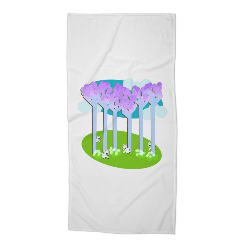 Pastel Woods with Bunnies Accessories Beach Towel by Make a statement, laugh, enjoy.