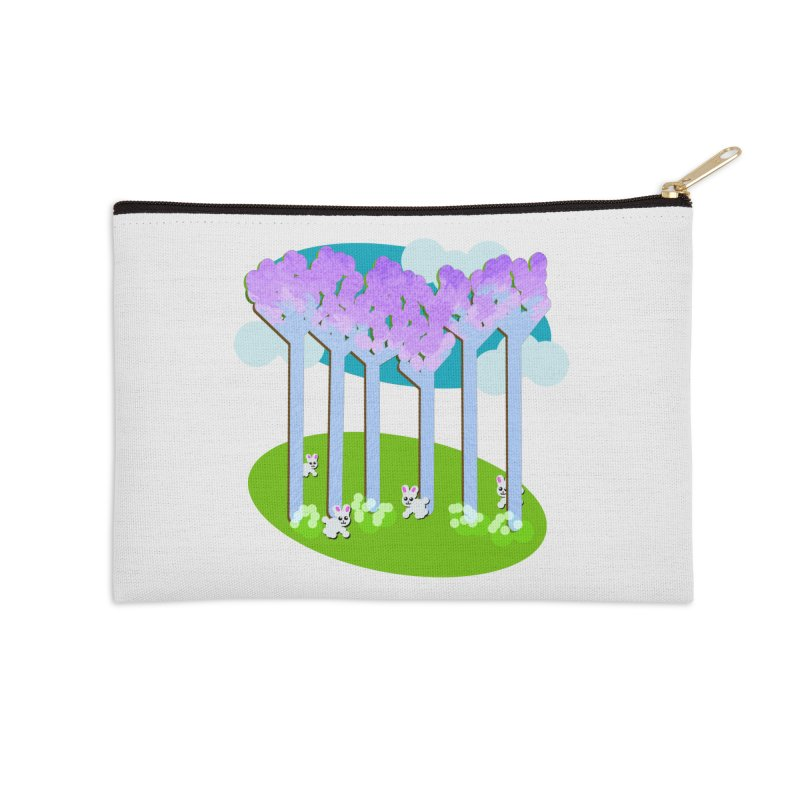 Pastel Woods with Bunnies Accessories Zip Pouch by Make a statement, laugh, enjoy.