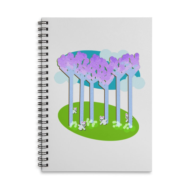 Pastel Woods with Bunnies Accessories Lined Spiral Notebook by Make a statement, laugh, enjoy.