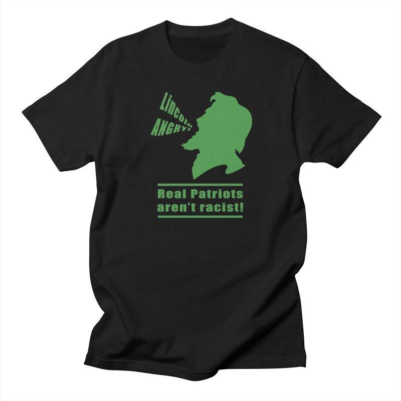 Real patriots aren't racist! in Men's Regular T-Shirt Black by Sporkshirts's tshirt gamer movie and design shop.