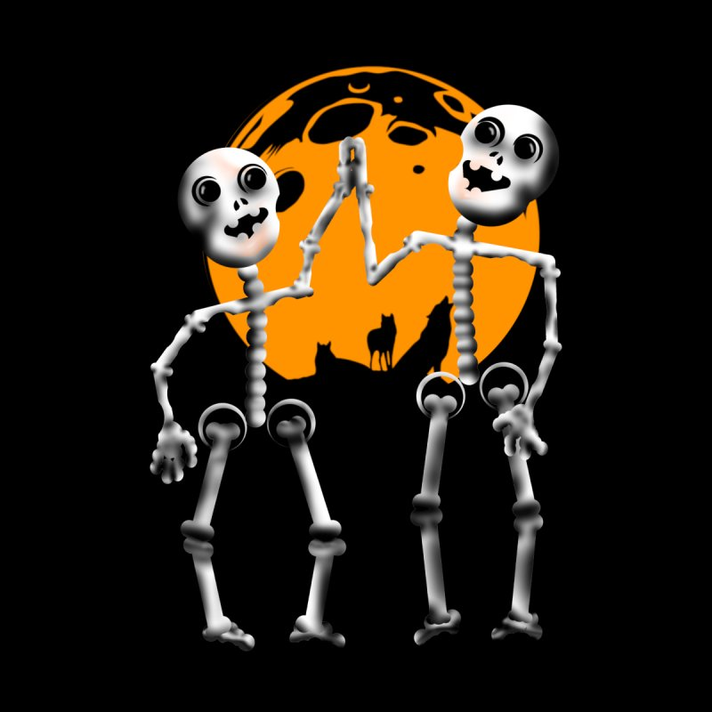 Skeleton moon and wolves Halloween shirt by Sporkshirts's tshirt gamer movie and design shop.
